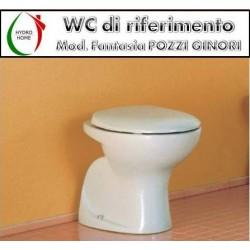 Copriwater Fantasia Pozzi Ginori legno rivestito in resina poliestere bianco