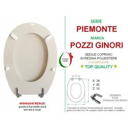 copy of Copriwater Piemontesina Pozzi Ginori legno rivestito in resina poliestere Champagne