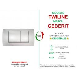 copy of Piastra di azionamento Bianca Cromo Twiline30 doppio tasto Geberit