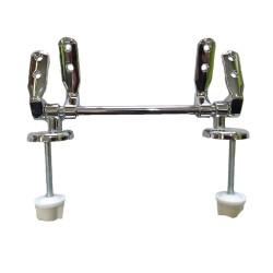 Cerniere regolabili con tubolare fissaggio dal basso cromo lucido