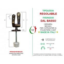 Cerniere regolabili fissaggio dal basso colore bronzo