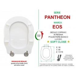 Copriwater Pantheon Eos legno rivestito in resina poliestere bianco Soft Close