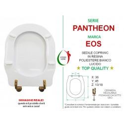 Copriwater Pantheon Eos legno rivestito in resina poliestere bianco cerniere oro
